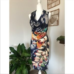 Desigual orchid flower print pencil dress w cowl